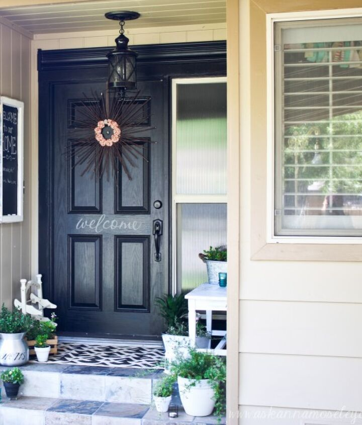"I love the black front door, I think it really makes the front porch ""pop""."