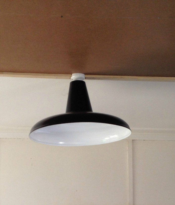 I have two of these upcycled industrial lights.  They came up really well with paint.  They look odd so close to the ceiling!  I need to lower them, any ideas?