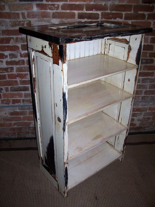 repurposed doors to bookcase, painted furniture, repurposing upcycling, Bookcase from old doorswith slick black and white custom paint Beadboard back