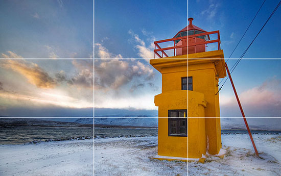 Imagine splitting the image into a grid with two vertical and two horizontal lines. This is referenced as the Rule of Thirds Image by Tray Ratcliff  http://www.flickr.com/photos/stuckincustoms/1928559400/
