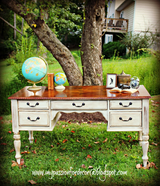 Desk Makeover With Chalk Paint® by Annie Sloan in Old White