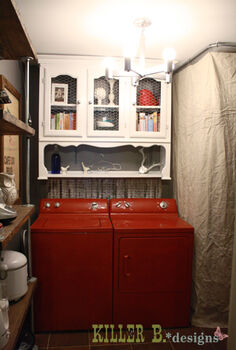 repurposed hutch for laundry room, doors, home decor, kitchen cabinets, laundry rooms, Repurpose an old hutch for upper cabinet storage for a laundry room