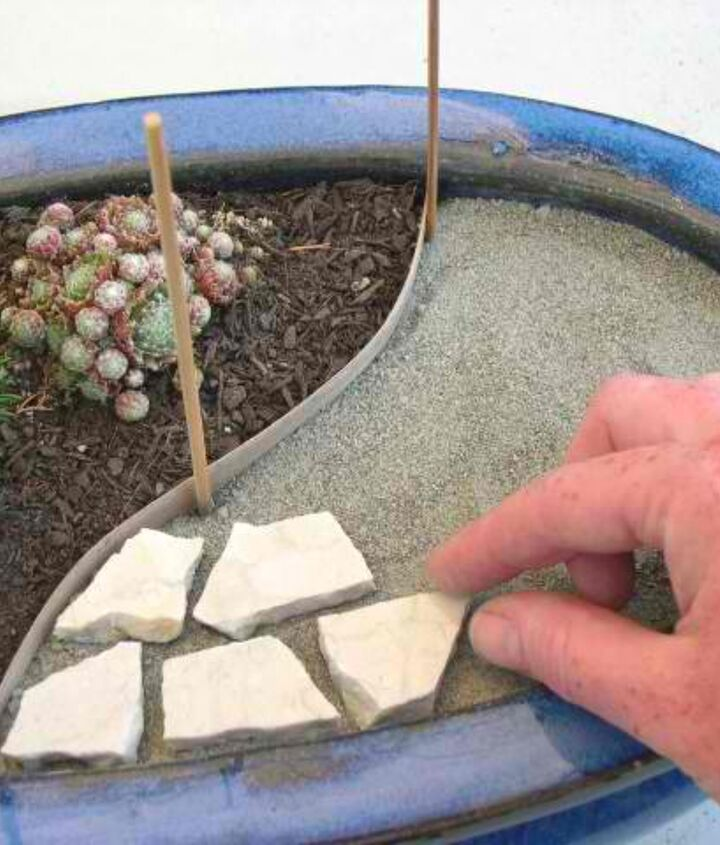 You will put down your border edging, lay sand, tile pieces, and you will add the grout.