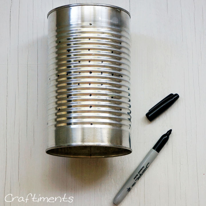 tin can solar lantern tutorial, diy, how to, outdoor living, repurposing upcycling, Step 1 Wash can and mark design