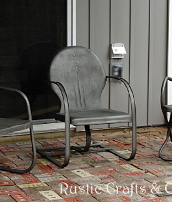 Finished chairs using a textured metallic paint. I then applied a couple coats of clear gloss lacquer by Rustoleum to seal and protect the finish.