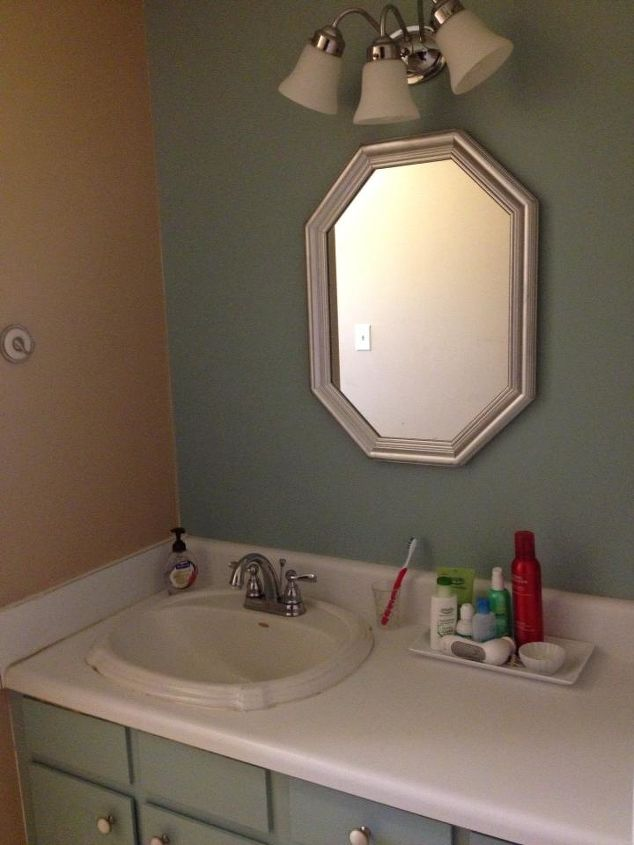 """Vanity wall painted with """"Blue Willow"""" by Pittsburgh Paints."""