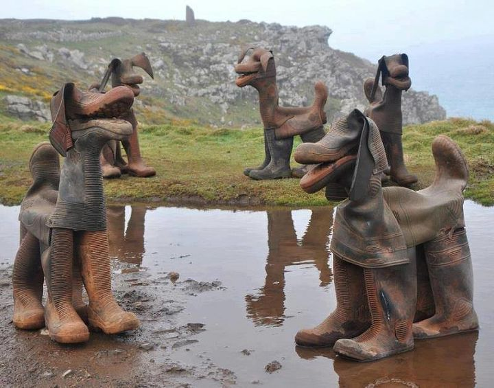 dogs made from gumboots, repurposing upcycling
