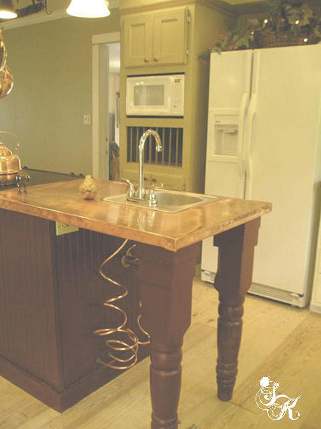 sk s copper work, countertops, diy, kitchen design, kitchen island, painting