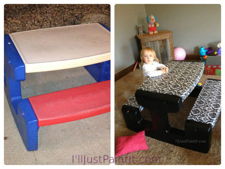 redoing a little tikes table, painted furniture, Before and after
