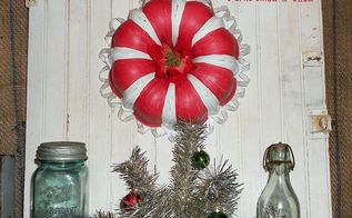 bundt pan candy cane wreath, christmas decorations, crafts, repurposing upcycling, seasonal holiday decor, wreaths, Scalloped sparkly ribbon on the edges adds a little Christmas shine