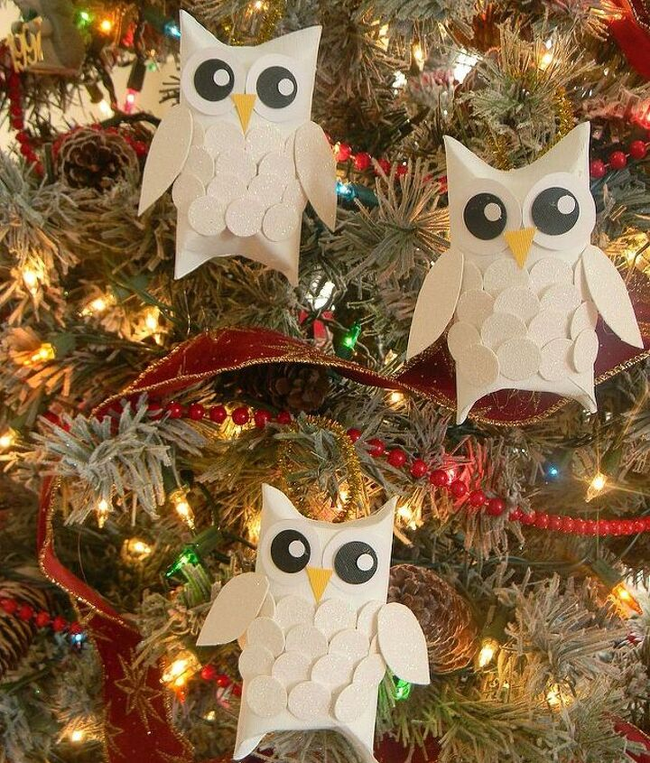snow owl christmas ornaments, christmas decorations, crafts, seasonal holiday decor