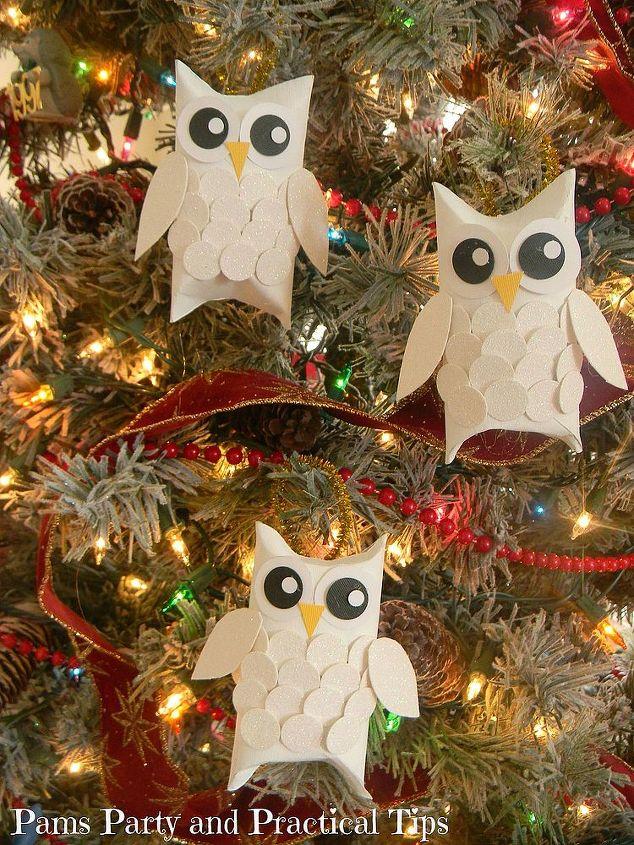 snow owl christmas ornaments, christmas decorations, crafts, seasonal holiday decor