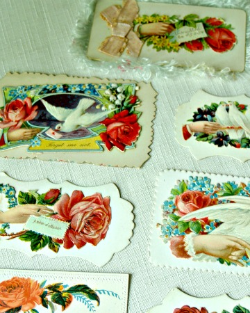 industrial meets romantic cottage vintage treasures for the home, home decor, repurposing upcycling, Victorian calling cards with die cut roses