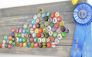 bottle cap state art, crafts, home decor, repurposing upcycling, bottle cap state art