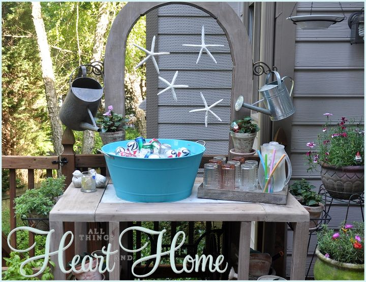 When we entertain in the spring,summer and fall, we put the drinks on the back deck. The potting bench is easily made into a nice place to serve drinks!