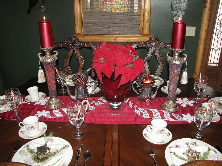 my very red christmas table scape, christmas decorations, seasonal holiday decor
