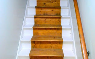 painted staircase bare wood runner, painting, stairs, bare wood runnner after