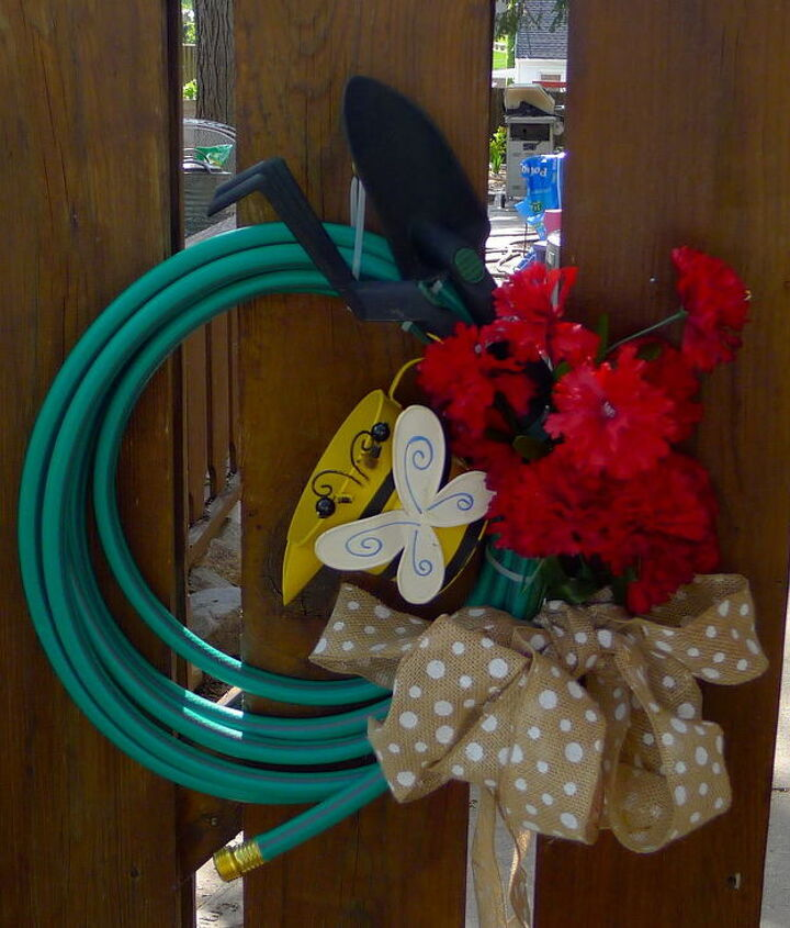 My take on the garden hose wreath.