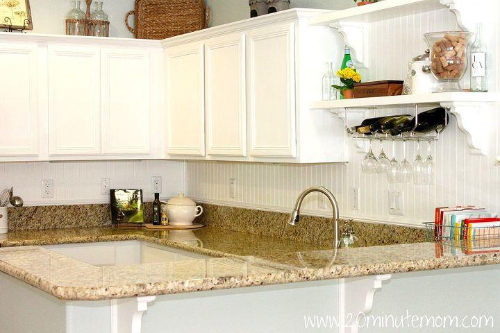 diy kitchen makeover builder grade to bright white, kitchen backsplash, kitchen design, shelving ideas, Kitchen custom shelves and wine rack above sink