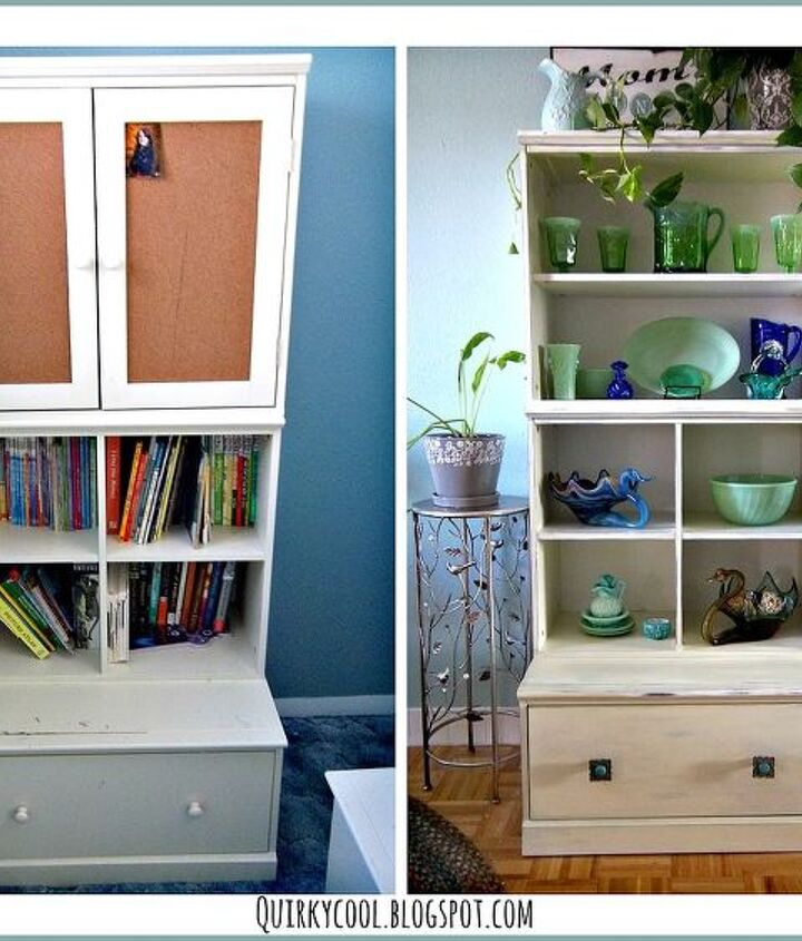 Before a bookcase and after a easy and no cost display cabinet.
