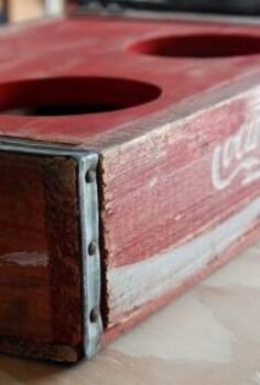 vintage coca cola crate turned dog bowl holder, repurposing upcycling, wildlife animals, Vintage Coca Cola Crate Turned Dog Bowl Holder