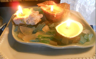 recycled candles and repurposed shells make great pottery barn inspired shell candles, crafts, repurposing upcycling, Pretty
