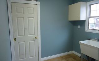 redoing an old laundry room before and after, home decor, laundry rooms, painting, This is how the new colour transformed the space This is Benjamin Moore s Solitude I love this deep blue even in a small room