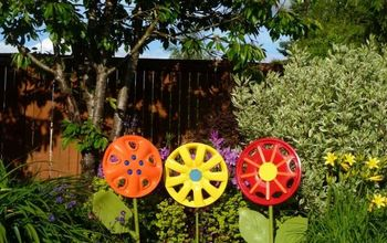 Hubcap Flower Yard Art