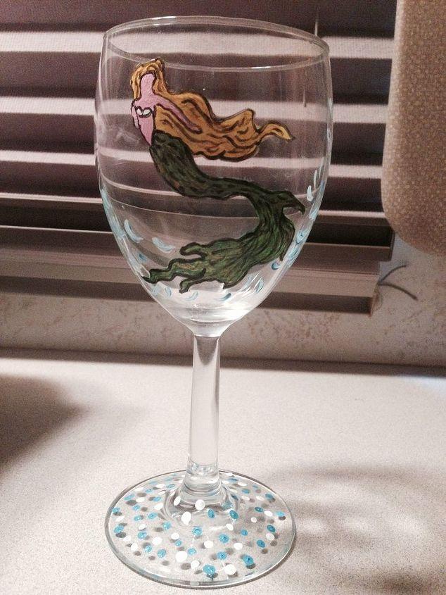 thrift store wine glass hand painted mermaid, crafts
