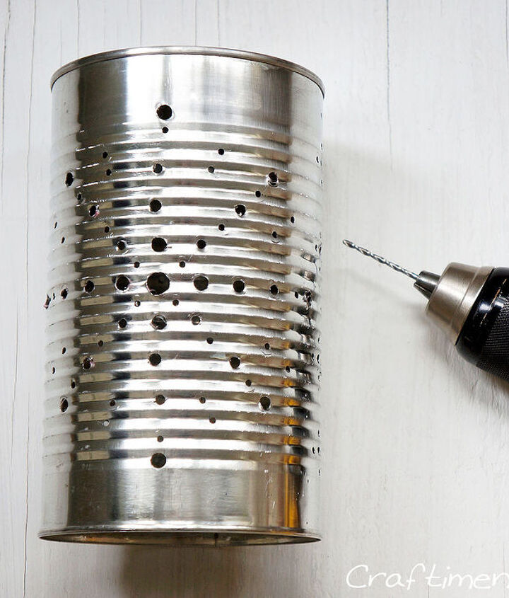 tin can solar lantern tutorial, diy, how to, outdoor living, repurposing upcycling, Step 2 Drill holes with power drill