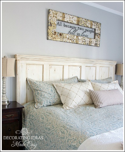 old door new headboard, bedroom ideas, home decor, painted furniture, repurposing upcycling
