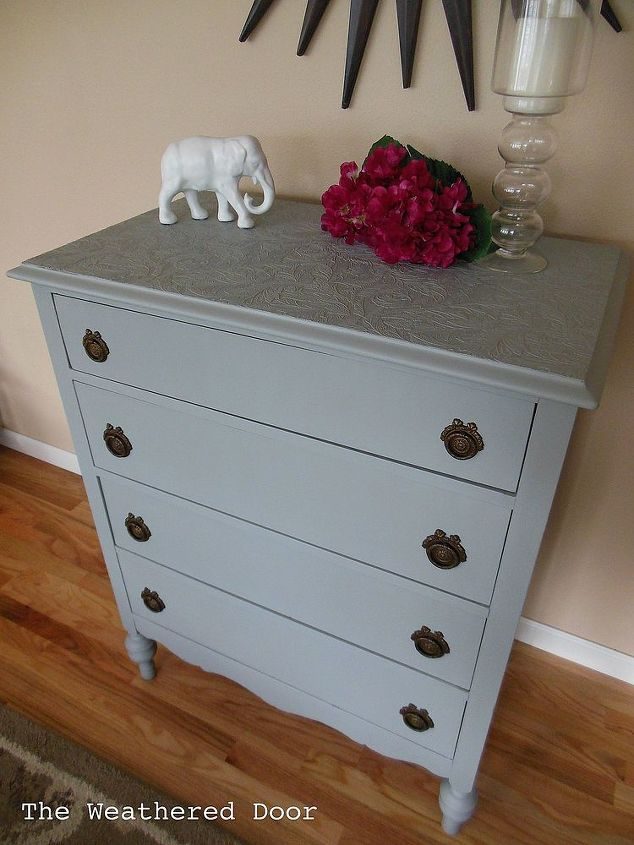 Use Paintable Wallpaper To Cover Ruined Furniture Tops Painted Painting The Ties