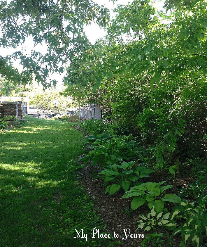 This shady side yard AND our sunny flower beds stay looking good even through the hot Summer.  What's the secret?