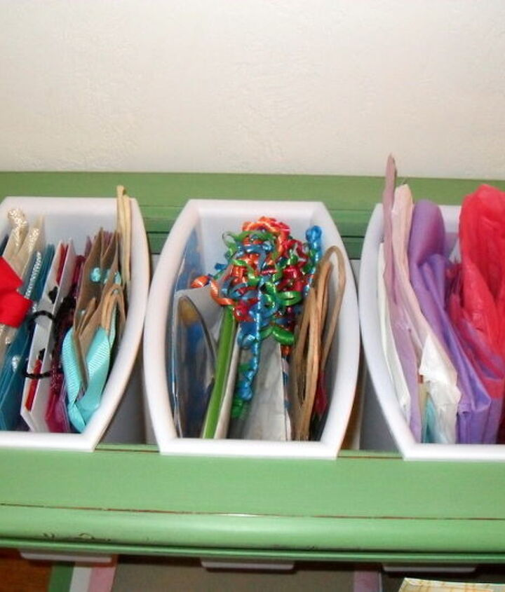 Great place to store tissue paper, ribbons, tags and small bags..