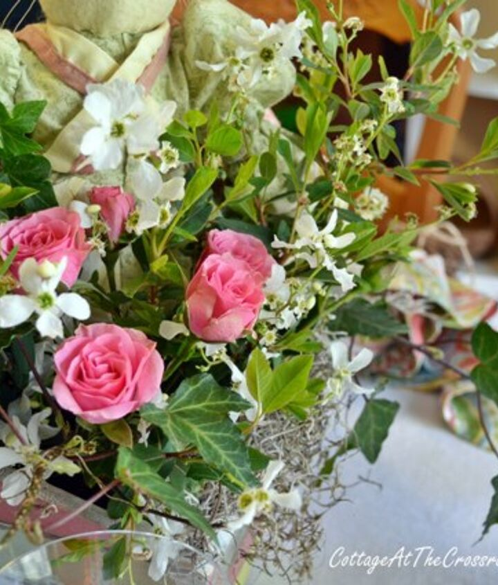 Grocery store roses, ivy, and blooms from the yard made a pretty centerpiece
