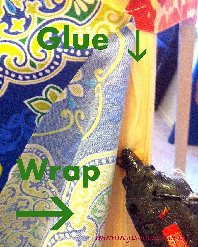 Glue and wrap sections of fabric (I used outdoor fabric) around your poles.