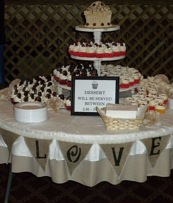 The desert table:  cupcakes