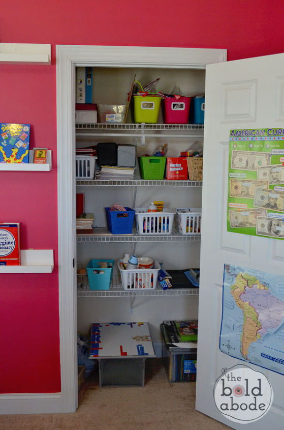 Adding extra shelving in the closet expands much needed storage!