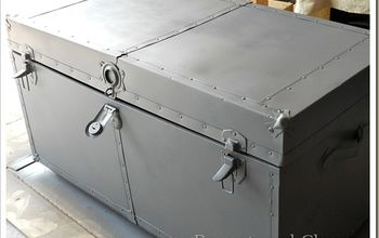 old blue metal trunk makeover, painted furniture, repurposing upcycling, Grey Primer