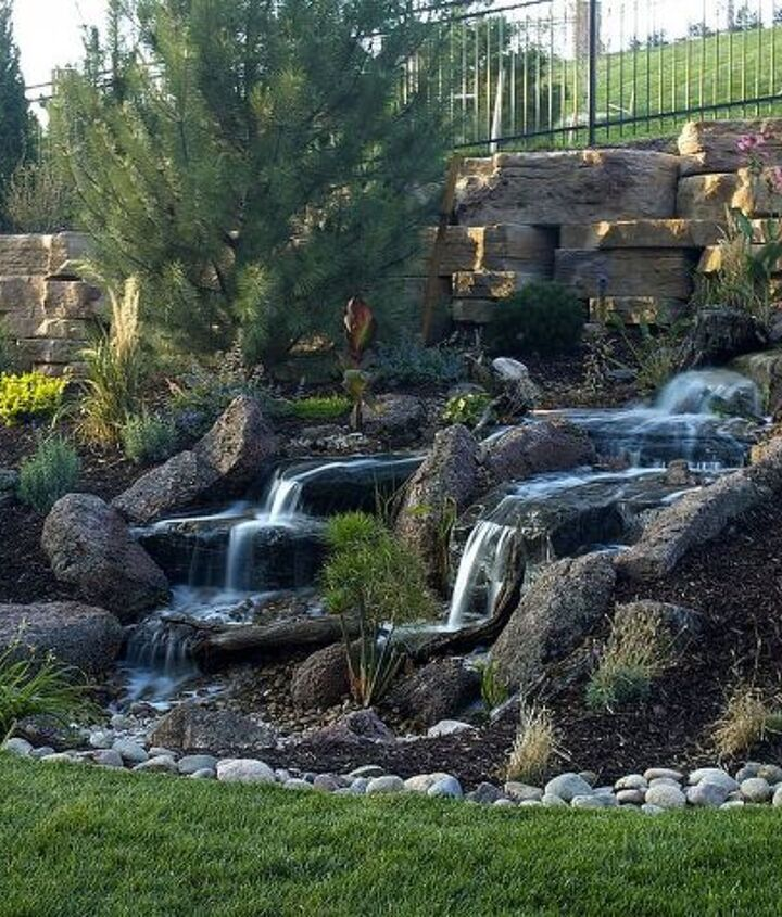 This pondless waterfalls was built for the Colorado Parade of Homes.