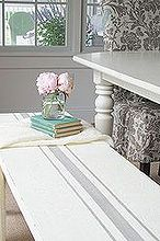 french grain sack striped bench, chalk paint, painted furniture