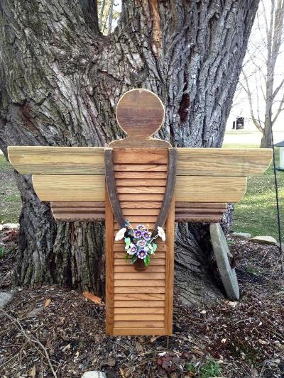 myra s shutter garden angel, crafts, outdoor living, repurposing upcycling, Finished angel