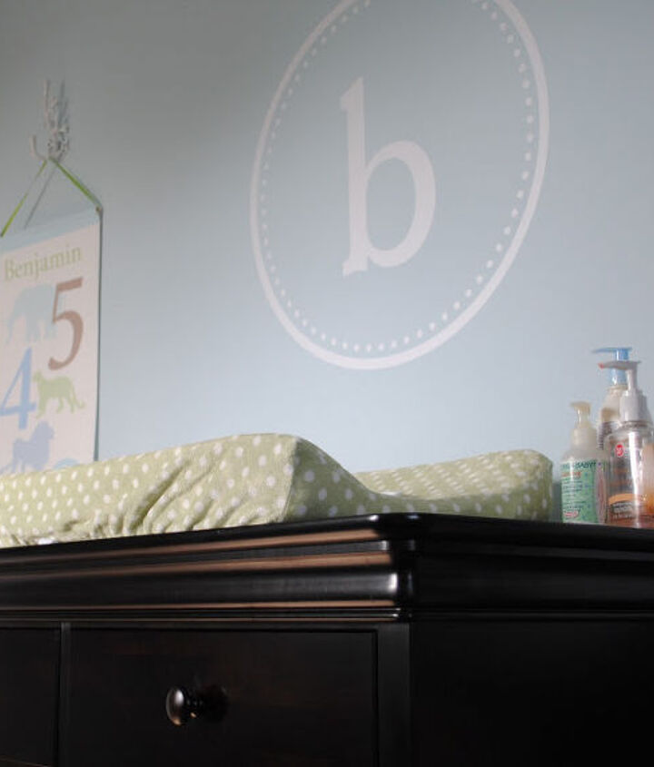 A custom ordered vinyl decal with the initial 'B' personalizes this space.  Etsy is a great place to find unique touches!