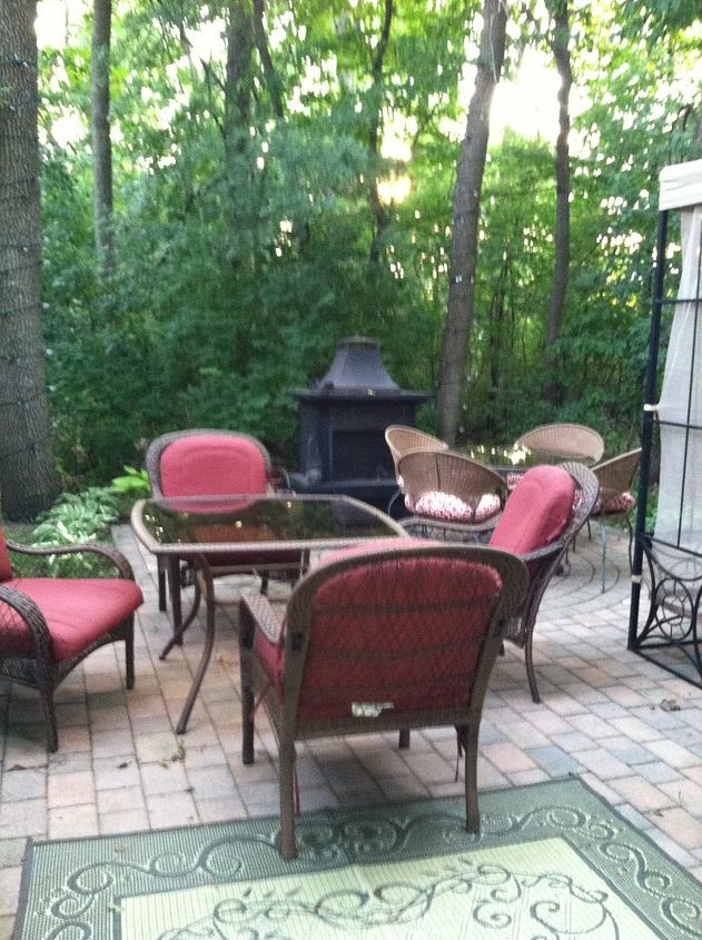 A view of more eating space and fireplace on our 600 sq ft Belgard patio that my husband and five sons put in 2 years ago.