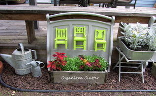 recycled pottery barn chairs futon ends in the garden, flowers, gardening, outdoor living, repurposing upcycling, I love the lime green chairs with the gray painted futon ends