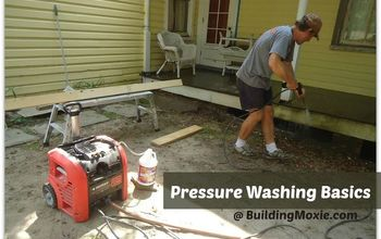 pressure washing basics like sweeping but with hi pressure water, cleaning tips, curb appeal, home maintenance repairs, a sturdy but inexpensive pressure washer will do