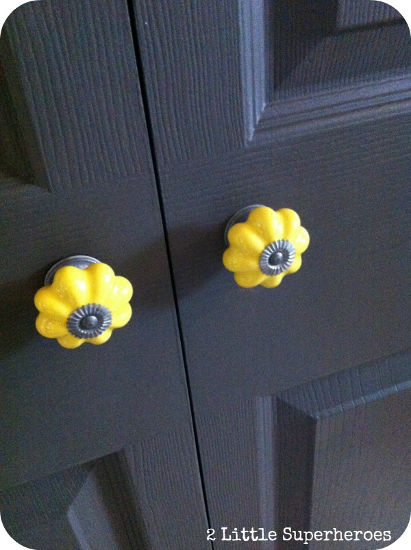 how to turn a bi fold door into a double door, closet, doors, Painted Seal by Martha Stewart and added cute knobs