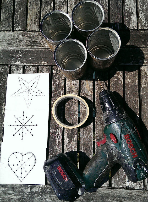 Make up a paper template to drill small holes in the tins....