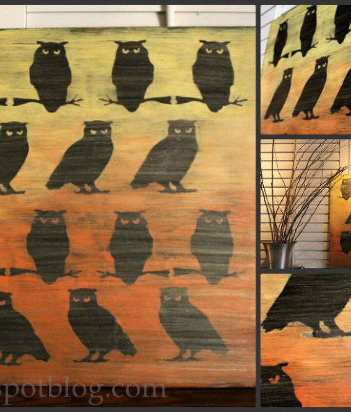 ombre owl artwork for halloween, crafts, halloween decorations, seasonal holiday decor