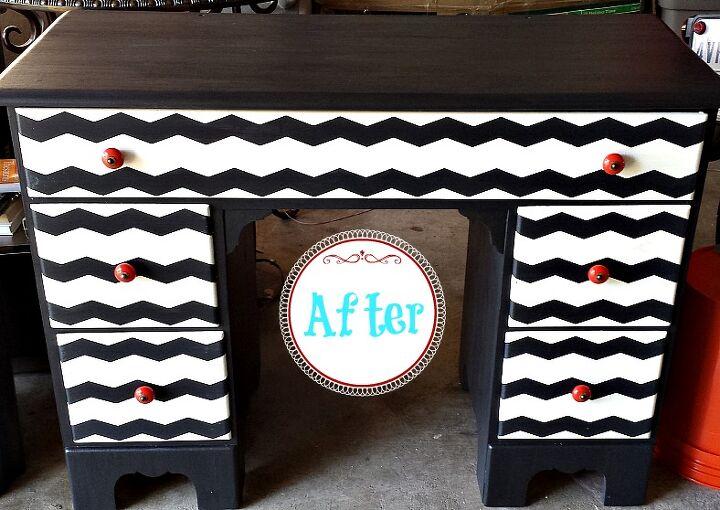 happy chevron desk, painted furniture